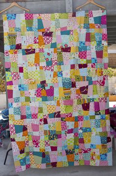 Crazy Nine Patch Quilt by Darci - Stitches, via Flickr/wanna do one of these.