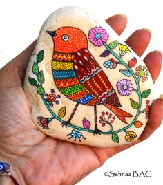 Pájaro de piedra pintados de mano pintadas aves