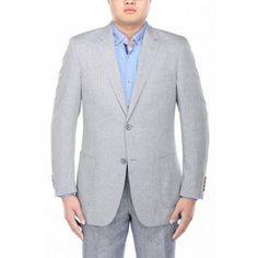 Verno Men's Grey Herringbone Textured Classic Fit Italian Styled Blazer, Size: 40L, Gray