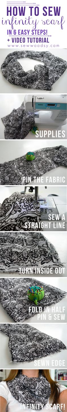 Click this photo to learn how to sew an infinity scarf in just a few simple steps! SewWoodsy.com #sewing #crafts #diy