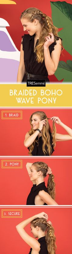 This braid-embellished wavy pony is perfect for cruising the boardwalk in your rollerblades, or any playful night out! Get boardwalk waves like these with the TRESemmé Perfectly (un)Done Collection. Click to learn more about the Collection!