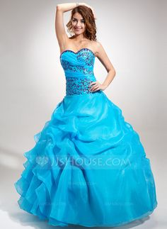 Ball-Gown Sweetheart Floor-Length Organza Quinceanera Dress With Embroidered Beading Sequins Cascading Ruffles (021016391) - JJsHouse