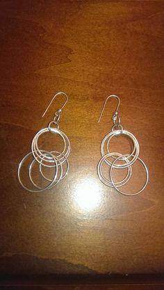 Vintage Sterling Silver Multiple Circles Dangle Earrings Retro Modern Circle Earrings on Etsy, $15.00