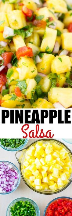 Sweet and Spicy Pineapple Salsa is your answer to summer snacking. It's perfect with chips or grilled meat and great for your waistline! via @culinaryhill