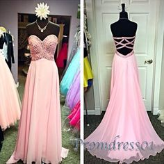 2016 cute beaded pink chiffon prom dress for teens, ball gown,prom dresses long #coniefox #2016prom