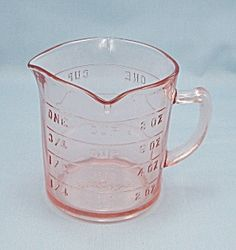 Pink Measuring Cup Pink Reproduction Depression Glass # 515P
