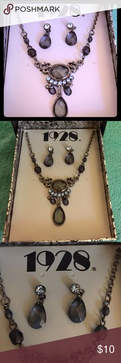 1928 Vintage inspired necklace & earring set This great blue and black 1928 vintage inspired jewelry line is never been worn.  Purchased at Kohls years ago for about 45.00. 1928 Jewelry Necklaces