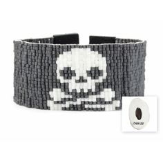Chan Luu Skull Cuff Black Leather Bracelet