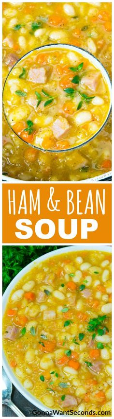 Leftover Ham Helps Create A Legendary Soup Full Of Hearty, Creamy White Beans With Just A Hint Of Fresh Thyme And Tender Chunks Of Everyones Favorite Smoky, Salty Piece Of Pork. Soups On With My Easy-But-Exceptional Ham And Bean Soup Recipe Bean Soup Recipes, Chowder Recipes, Chili Recipes, Crockpot Recipes, Cooking Recipes, Chorizo Recipes, Delicious Recipes, Healthy Recipes, Ham And Beans