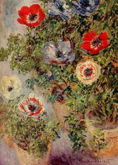 """""""Still-Life with Anemones"""" -- 1885 -- Claude Monet -- French -- Oil on canvas -- No further reference provided."""