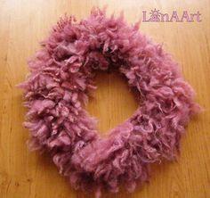 WILD PINK FLEECE artistic felt scarf-collar (neck-piece) of natural wool locks, 90x10-15 cm approximately by Svetlana Kosova - LanAArt