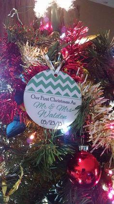 Chevron Newlywed Ornament | Personalized Holiday Ornament | Personalized Gift | Customer Photo | peachwik.com