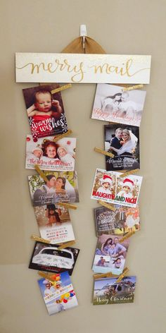 My favorite Merry Mail sign yet! Make you Christmas Card display part of your Christmas decor with this adorable Merry Mail white and gold sign.