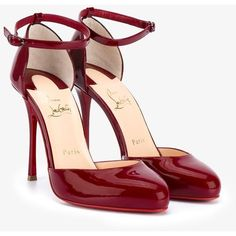 Christian Louboutin Christian Louboutin 'Tango Alto' Pumps ($845) ❤ liked on Polyvore featuring shoes, pumps, red stilettos, patent leather pumps, almond toe pumps, high heel stilettos and red patent leather shoes