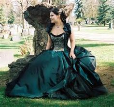 Steampunk - Gothic -Alternative-prom-plus size- custom made-peacock wedding dress-masquerade-halloween-colorado custom wedding gown-the secret boutique by thesecretboutique Emerald Green Wedding Dress, Peacock Wedding Dresses, Halloween Wedding Dresses, Masquerade Dresses, Best Wedding Dresses, Prom Dresses, Masquerade Wedding, Wedding Gowns, Corset Dresses