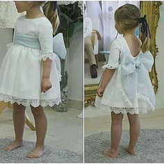 #leonorysofia #arras #pajes #bodas #eventos #lazo #detalles Little Girl Dresses, Girls Dresses, Flower Girl Dresses, Baby Girl Fashion, Kids Fashion, Wedding Girl, Kind Mode, Baby Dress, Marie