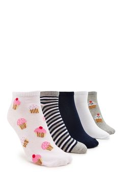 A set featuring five pairs of knit ankle socks with ribbed knit trim and solid, stripe, and cupcake graphic prints.