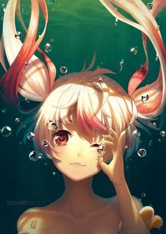 Commission - Lovette | Tokyo Otaku Mode #bubbles #underwater #pigtail