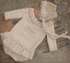 Long-Sleeved Vintage Linen Romper