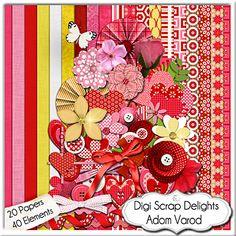 Adom Varod (red/ pink in Hebrew) Digital Scrapbook Kit and Add on Freebie. Click on freebie image be...