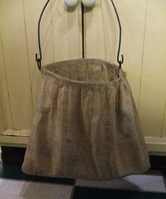 Vintage Old Hand Made Laundry Clothes Pin Bag Feed Sack.  Free Shipping in 48 States. $30.00