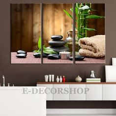 Large Wall Art Canvas Yoga Zen Candles Stones Canvas Print Framed 3 Panel Canvas