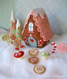 Stitch a candy village. I loved playing with our felt christmas decorations as a kid!