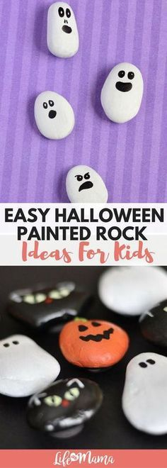 Painting rocks is a wonderful craft for kids and is perfect for almost any age. With a little help from mom, these Halloween painted rock ideas will be the perfect way to spook up your home this coming October. Halloween Art Projects, Halloween Rocks, Easy Halloween Crafts, Fall Crafts For Kids, Holidays Halloween, Toddler Crafts, Holiday Crafts, Halloween Painting, Halloween Stuff