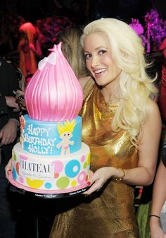 Holly Madison with her Troll Birthday cake