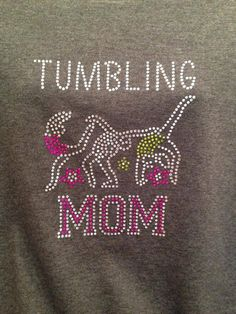 BLING rhinestone tumbling mom shirt - personalize to your team colors!