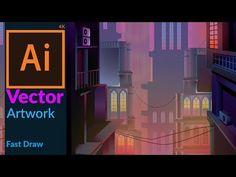 Cityscape at Dusk - Vector Fantasy Artwork in adobe illustrator - YouTube