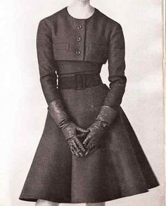 1961 Christian Dior fit & flare belted cropped jacket dress