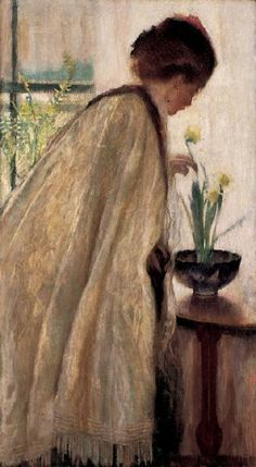 """Daffy Down-Dilly,"" Lillian Westcott Hale, 1908, oil on canvas, 36 x 20"", Farnsworth Art Museum."