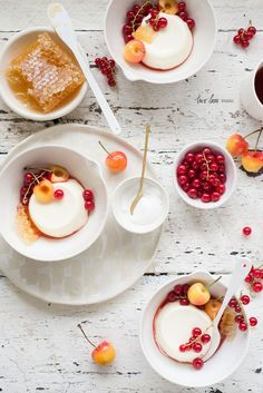 Honey Buttermilk Creams with Red Currants, Blush Cherries & Strawberry Consommé