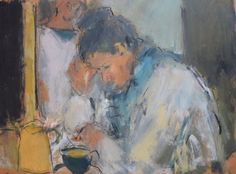 Ghislaine Howard, Young Woman in Café (Northern Quarter) | Paintings For Sale | Specialists In Modern British Art | Gateway Gallery Ltd