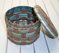 Woven Recycled Paper Basket  MultiColor Stripes by BlueTangDesigns, $10.00