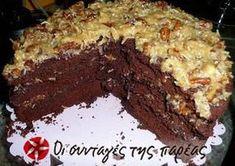 German Chocolate Cake, The Joy of Cooking recipe. Chocolate Sweets, German Chocolate, Coconut Pecan Frosting, Cake Recipes, Dessert Recipes, Dessert Ideas, Greek Desserts, Greek Recipes, Cheesecake Tarts