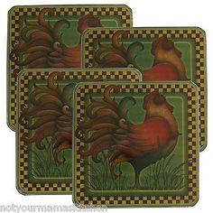 Square Burner Kovers by Range Kleen, Set of 4, Rustic Covers ~ Rooster Design