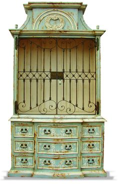 HAND PAINTED IN CELESTE DISTRESSED WITH AMARYLLIS UNDERTONES AND BONE SCROLLS. HAND FORGED WROUGHT IRON.
