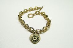 Her Brass Chain Charm Bracelet Free Shipping by kasual2klassy, $16.50