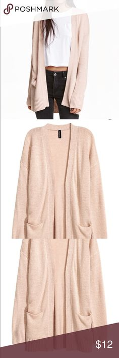 H & M Powder Pink Cardigan Medium Worn once washed and hung to dry. Cardigan in a soft knit with dropped shoulders, long sleeves, and front pockets. No buttons. DETAILS 100% acrylic. Machine wash warm/smoke and pet free home. Sweaters Cardigans