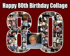 Photo collage for 80th Mother birthday, Number 80 shaped, framed poster prints