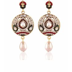 Art Red, Green & Off White Jewellery Earrings Indian Online ($42) ❤ liked on Polyvore featuring jewelry, earrings, green drop earrings, red pearl earrings, red drop earrings, red jewelry and champagne pearl earrings