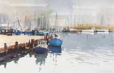 """David Taylor (b. 1941, Australia) The Still and Quiet of Morning, Weymouth. watercolour. 11"""" x 15"""" (28 x 38 cm)"""