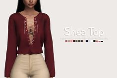 Shea Top • Original Mesh • 26 Swatches • All LOD's • HQ mod compatible • Do not reupload • If you use it, please tag me #novasim DOWNLOAD: SFS | MF