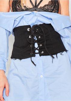 Zayla Black Distressed Corset Waist Belt Missy Empire
