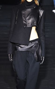 Deconstructed Tailoring with leather accents, fashion details // Costume National F/W 2012