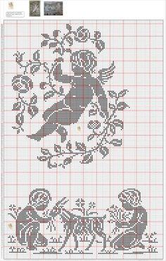 ФИЛЕЙНОЕ ВЯЗАНИЕ. ОЧЕНЬ МНОГО!!!: lizakaddi — LiveJournal Stitch And Angel, Cross Stitch Angels, Cross Stitch Borders, Cross Stitch Charts, Cross Stitch Designs, Cross Stitching, Cross Stitch Embroidery, Cross Stitch Patterns, Filet Crochet