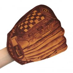 "Batter up to the stove with this oven mitt that looks like a traditional leather baseball  glove!   A great gift for the baseball fanatic who loves to cook.  100% Cotton.    Measures 10"" long x 9"" wide."