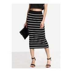 SheIn(sheinside) Black White Stripe Split Midi Skirt ($9.99) ❤ liked on Polyvore featuring skirts, multi, striped skirt, long cotton skirts, cotton midi skirt, long striped skirt and black and white stripe skirt